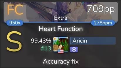 Aricin | O2i3 - Heart Function [Extra] +DT 99.43% {#13 709pp FC} - osu!